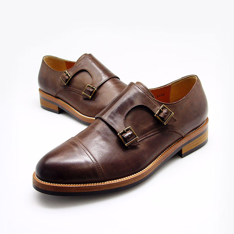 URBAN TREKKER Leather Rubber Sole Double Monk Strap (5RX 5258 RCT)